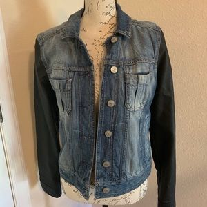 Blue Jean jacket with leather arms